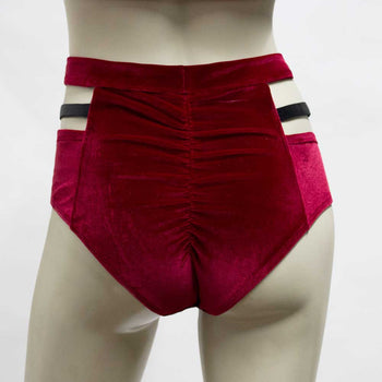 High Waisted Monroe Cutout Sexy Short- Cherry Red Velvet