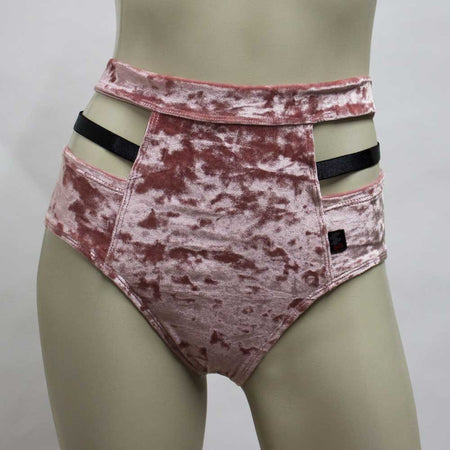 High Waisted Monroe Cutout Sexy Short- Blush Crushed Velvet