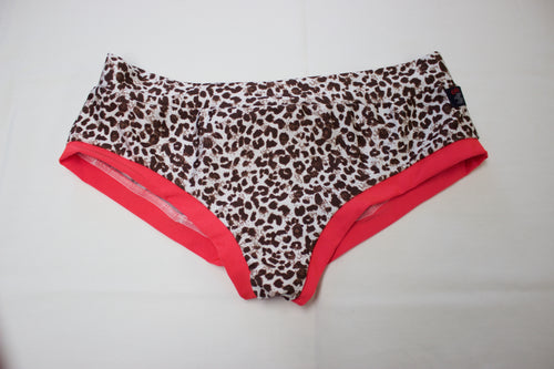 Booty Short- Leopard with Orange Bands