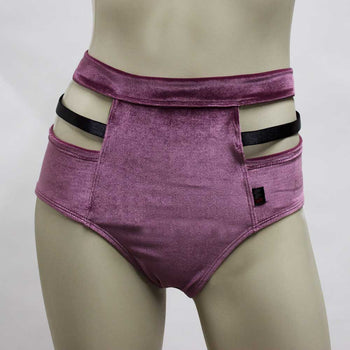 High Waisted Monroe Cutout Sexy Short- Mauve Velvet