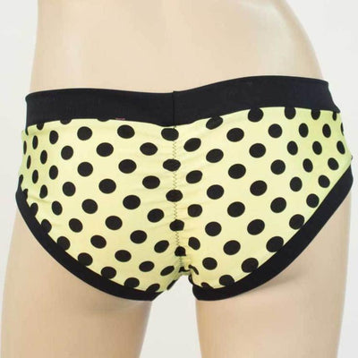 Booty Short/Pole Dance Short/Rave Short- Yellow Dot Regular Rise - HeyHey & Co