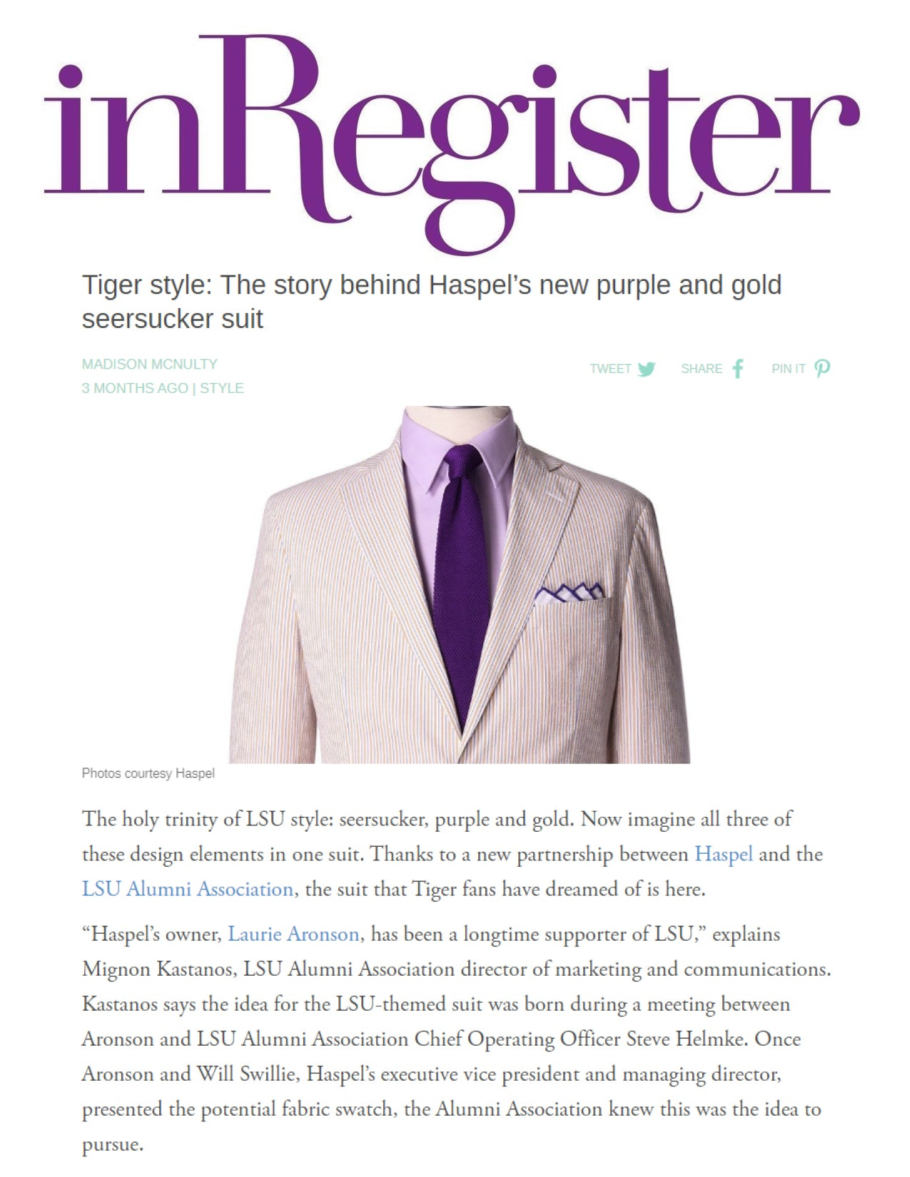 Tiger style: The story behind Haspel's new purple and gold seersucker suit | InRegister | SEPTEMBER 2019