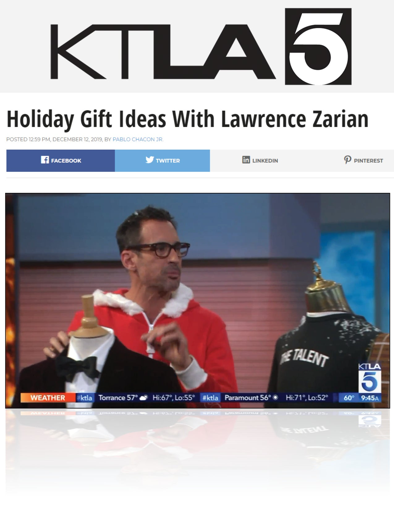 Holiday Gift Ideas With Lawrence Zarian | KTLA 5 | DECEMBER 2019