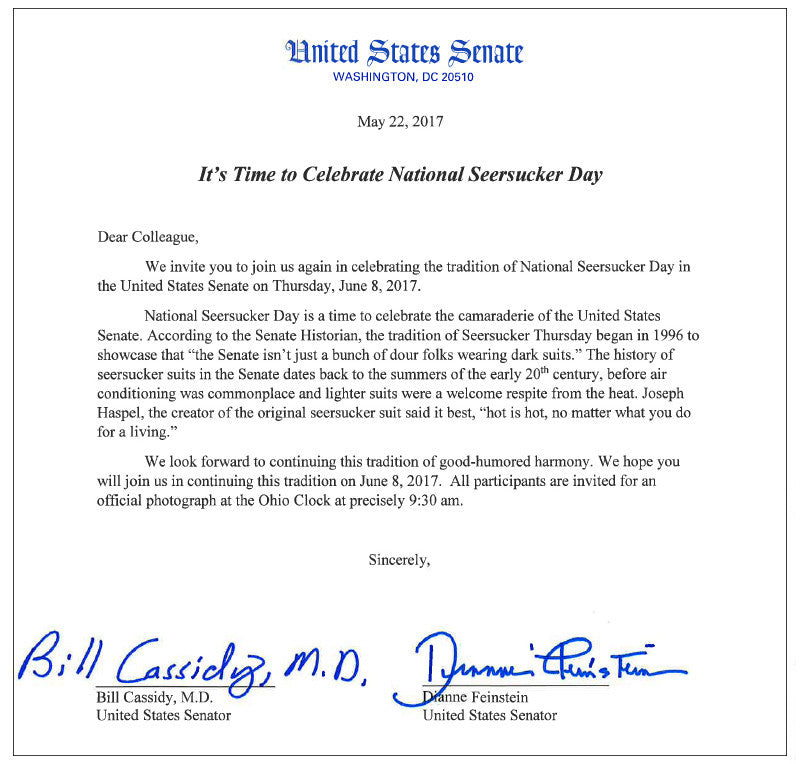 SENATOR CASSIDY PROMOTES NATIONAL SEERSUCKER DAY - MAY 2017