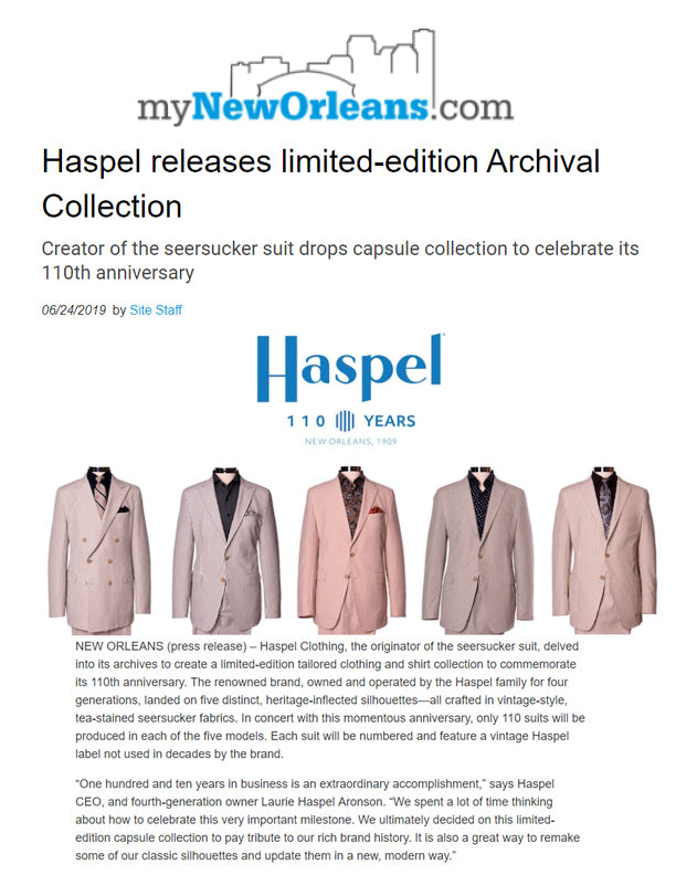 Haspel Releases Limited-Edition Archival Collection