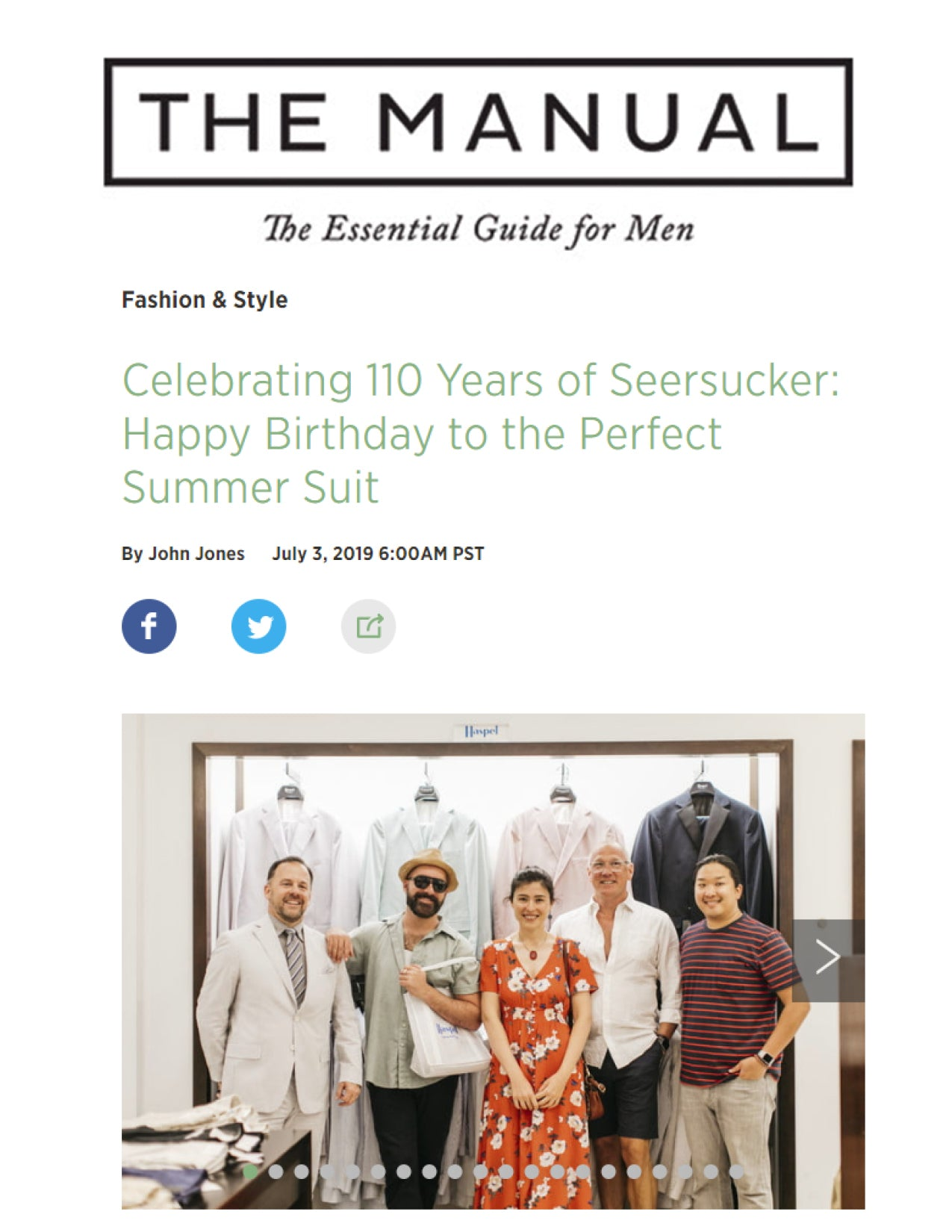 Happy Birthday to the Perfect Summer Suit | The Manual | JULY 2019