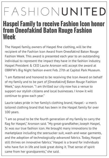 fashionweekweb.com highlights Haspel receiving Fashion Icon honor