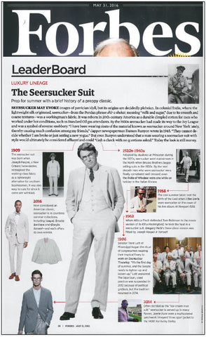 forbes magazine discusses the history of the seersucker suit by Haspel