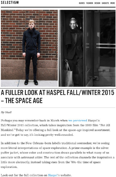 selectism.com features fuller look at Haspel Fall/Winter Collection