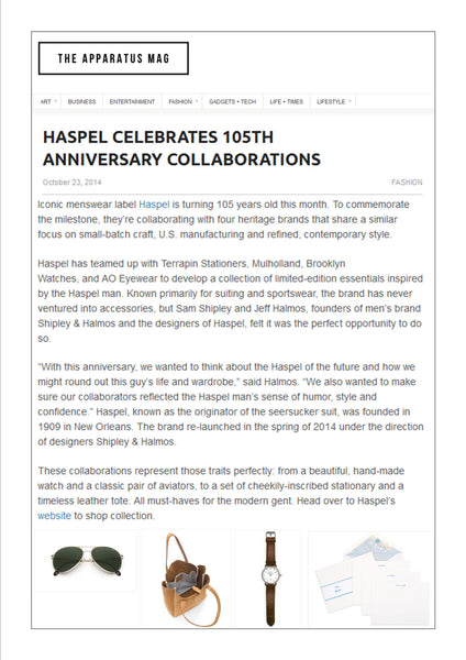 apparatusmag.com features Haspel collaborations to celebrate 105 years