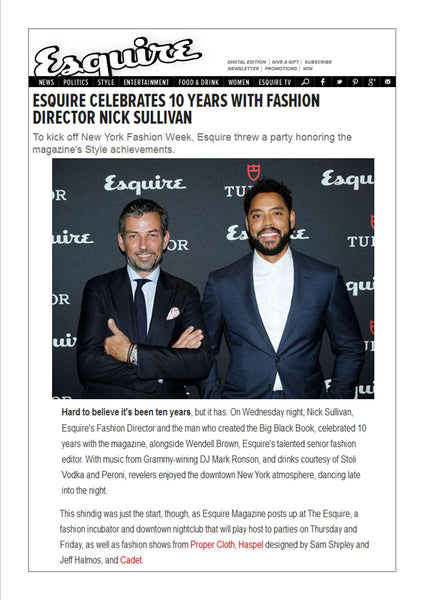 esquire.com features Haspel in Fashion week