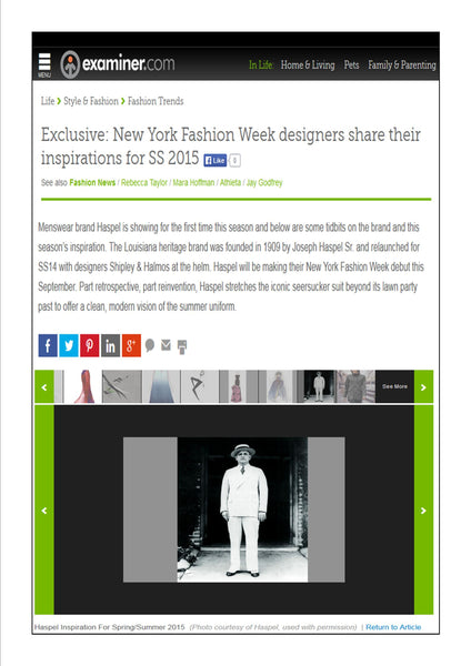 examiner.com features Haspel in NY Fashion Week designers