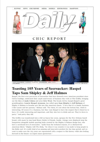 fashionweekdaily.com features Haspel toasting 105 years of seersucker
