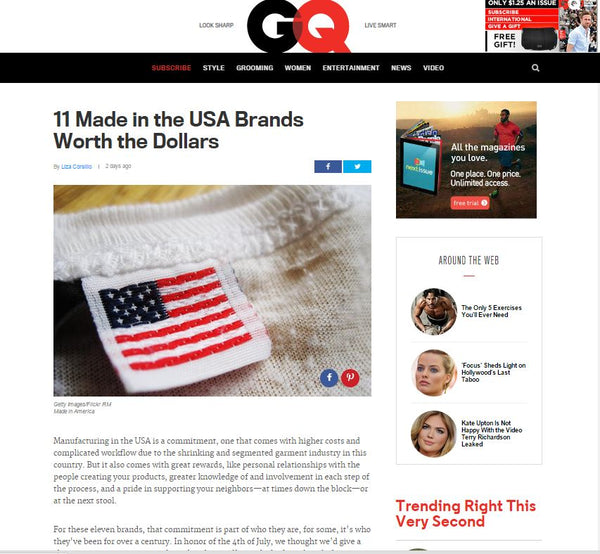 "gq.com features Haspel in ""11 Made in the USA Brands Worth the Dollars"" article"