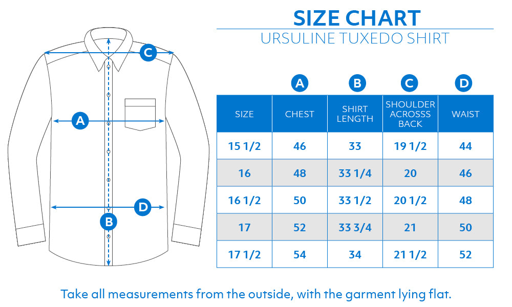 Haspel Ursuline Dress Shirt Size Chart