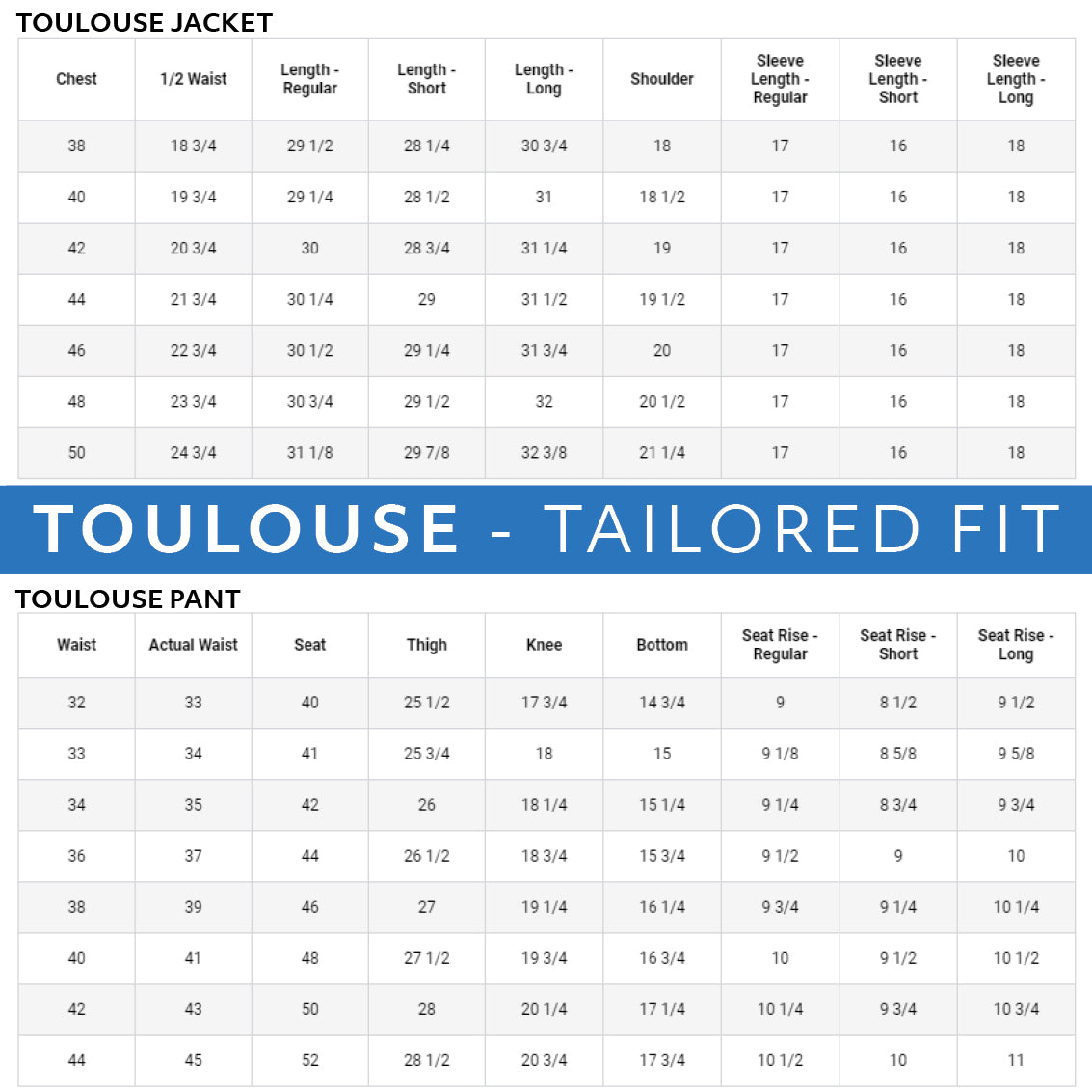 Haspel seersucker suit size charts. Toulouse Tailored Fit