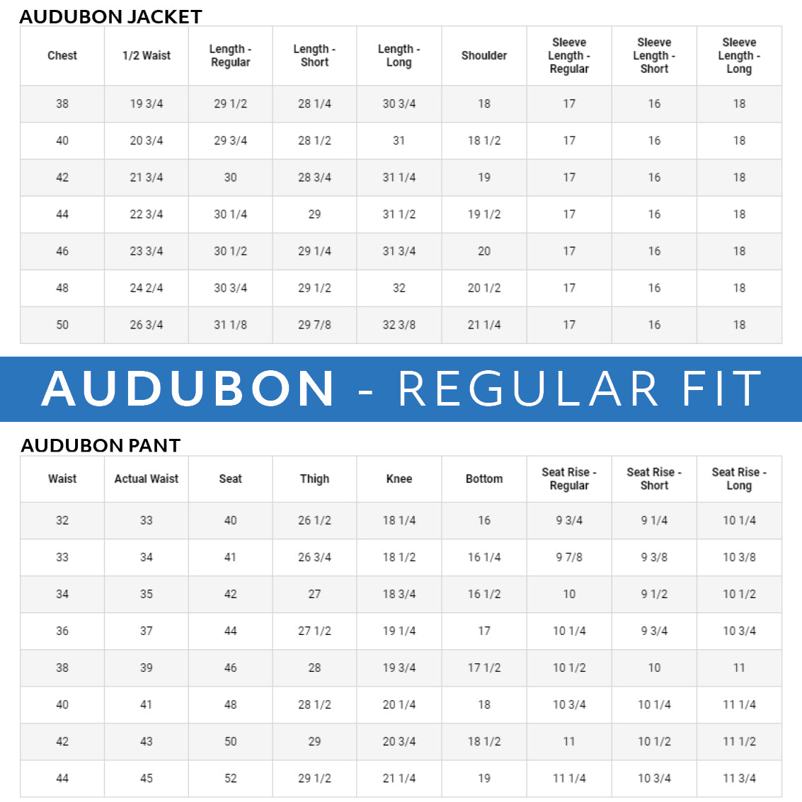 Haspel seersucker suit separates size charts. Audubon regular fit.