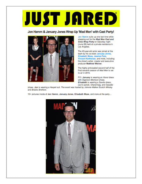 justjared.com features actor Jon Hamm wearing Haspel suit