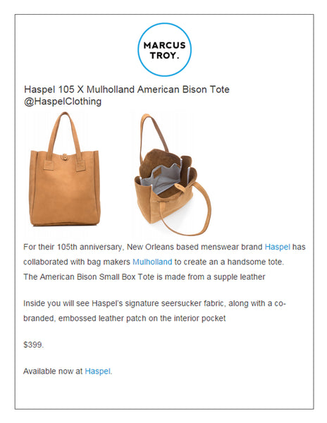 marcustroy.com feature collaboration of tote with Haspel and Mulholland celebrating 105 years