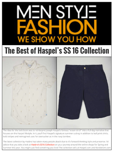 mensstylefashion.com features best of Haspel's spring/summer 2016 collection
