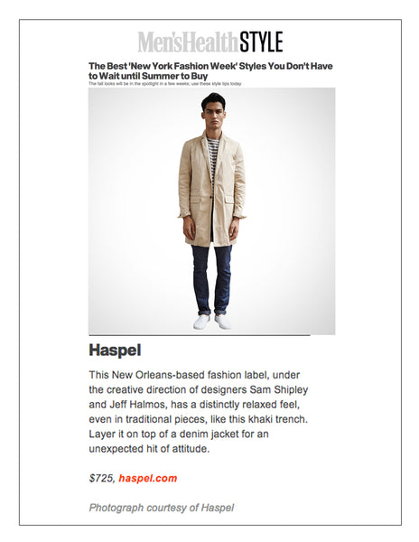 menshealth.com features Haspel in Best NY Fashion week styles