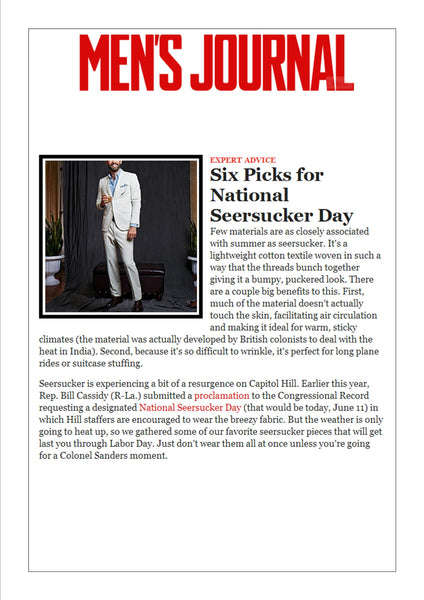 mensjournal.com features Haspel in 6 picks for National Seersucker Day