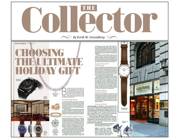 The New York Observer feature Haspel watch as Holiday Gift