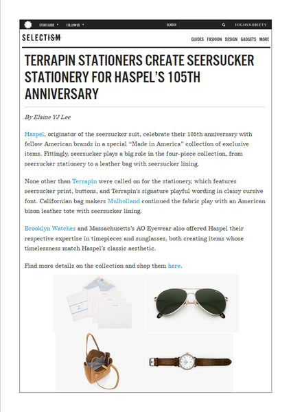 selectism.com shows Haspel collaborations to celebrate 105 years