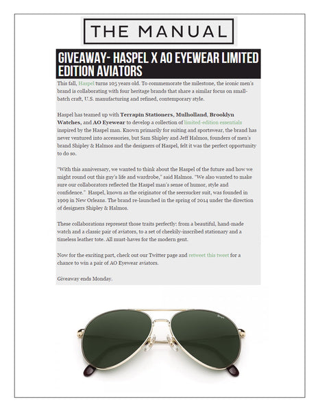 Haspel Aviator Sunglasses giveaway featured on themanual.com