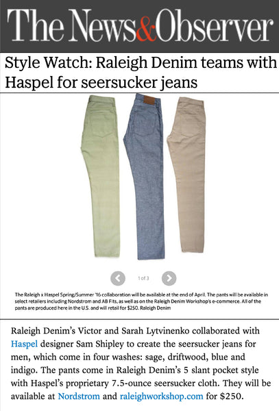 newsobserver.com features Haspel and Raleigh Denim's collaboration