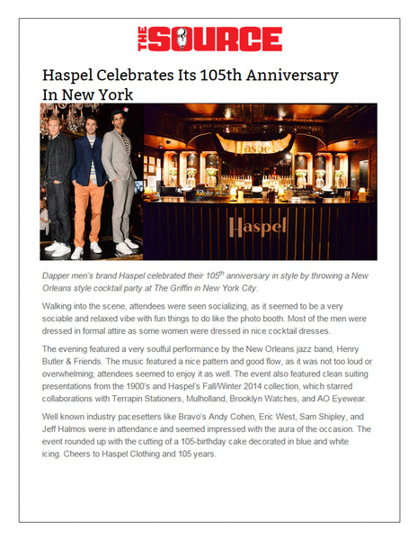 thesource.com feature Haspel celebrating 105 years in New York