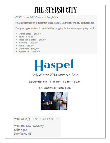 Haspel Fall/Winter 2014 Sample Sale featured by thestylishcity.com