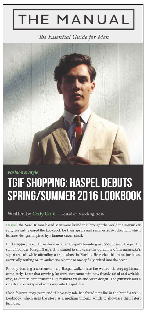 themanual.com features debut of Haspel's spring/summer 2016 collection