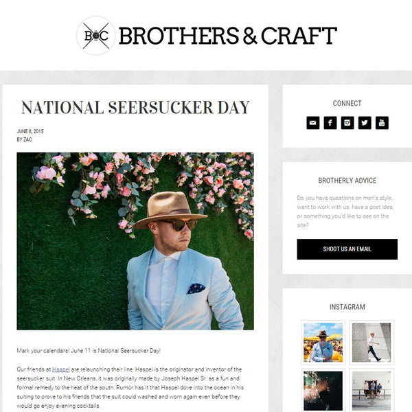 brothersandcraft.com feature Haspel on National Seersucker Day 2015
