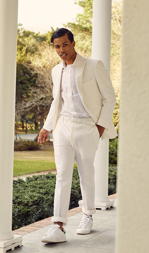 Haspel seersucker in white is dynamite.  Magnolia white seersucker for the ultimate in airy comfort from the beach to the streets of the French Quarter.