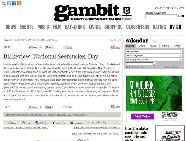 bestofneworleans.com features Haspel on National Seersucker Day 2015