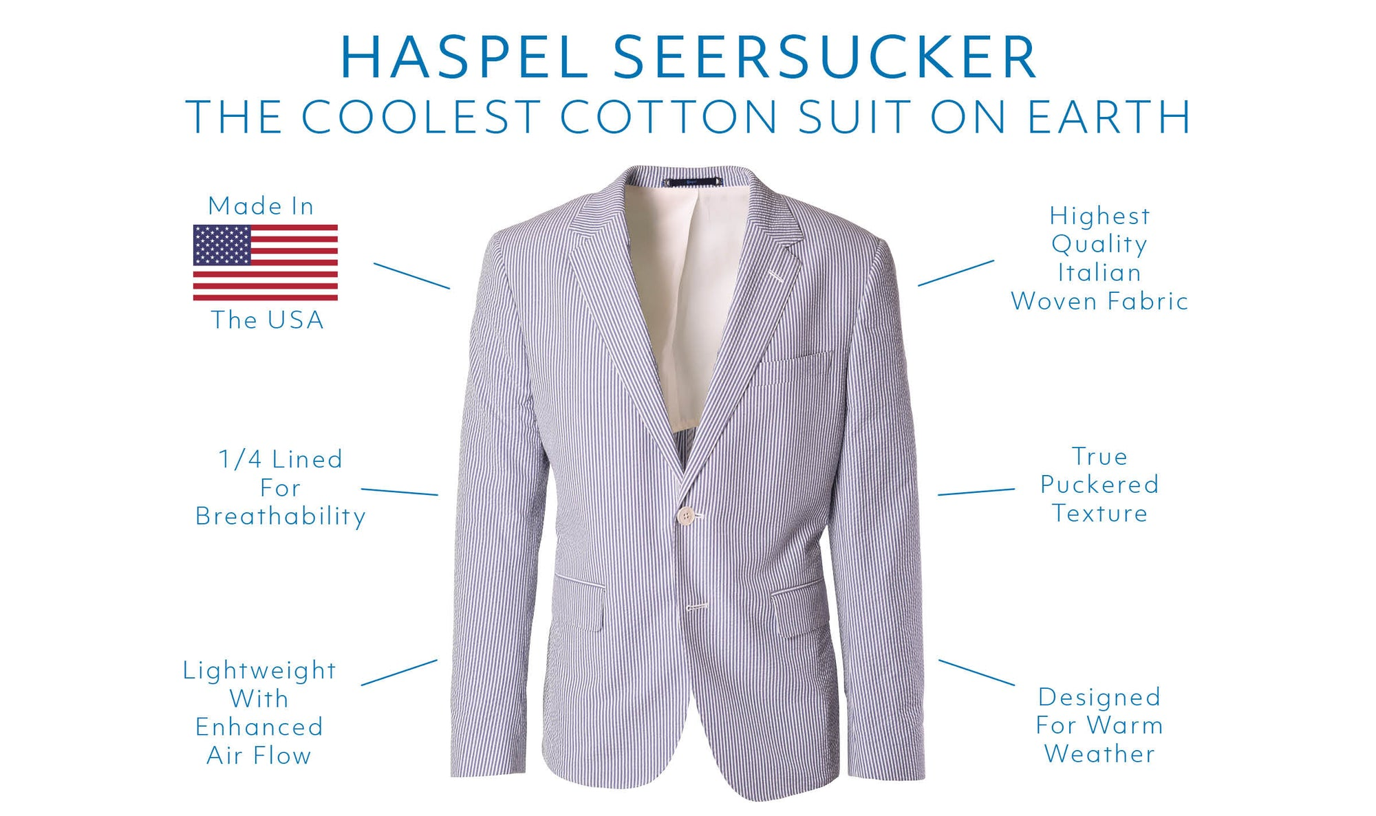 Haspel. Made In America. The finest seersucker suit since 1909.