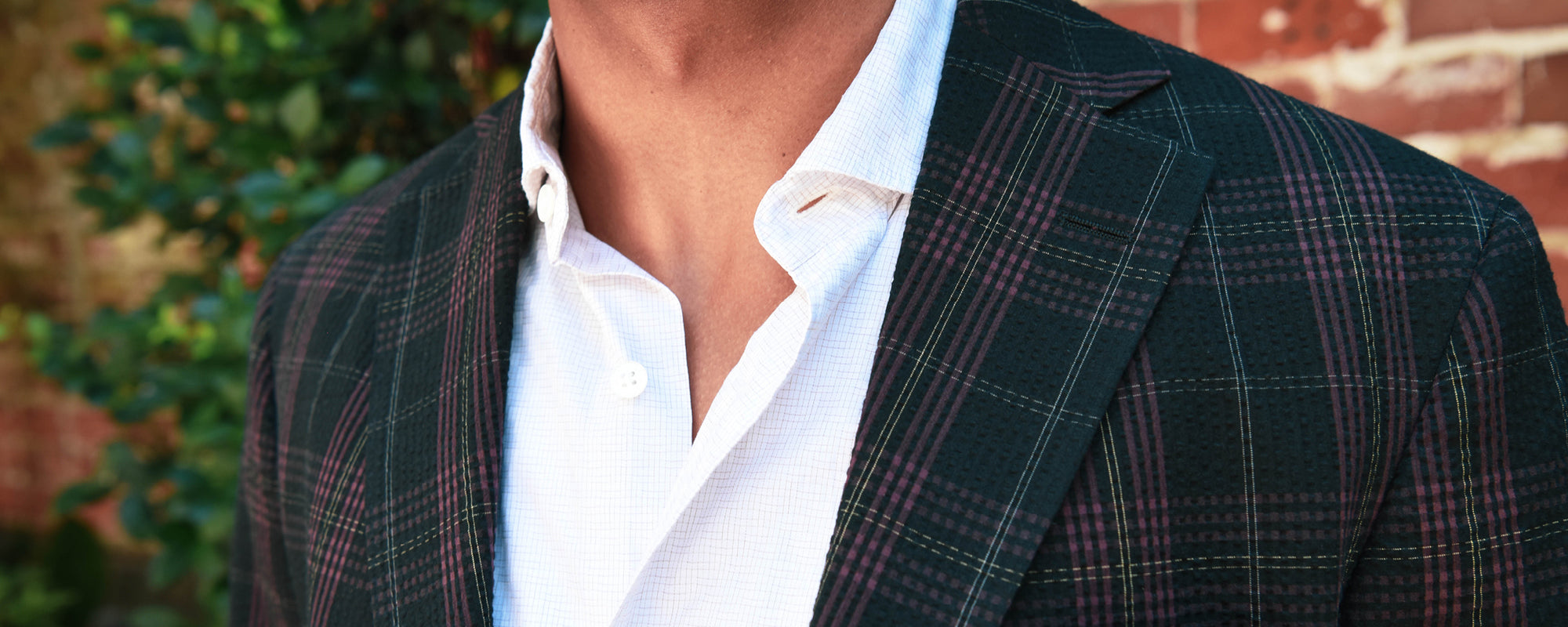 Jazzed Plaid Seersucker from Haspel. The originator of the seersucker suit.
