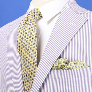 Limited Edition NOLA Couture X Haspel Yellow Magnolia Print Tie - O/S