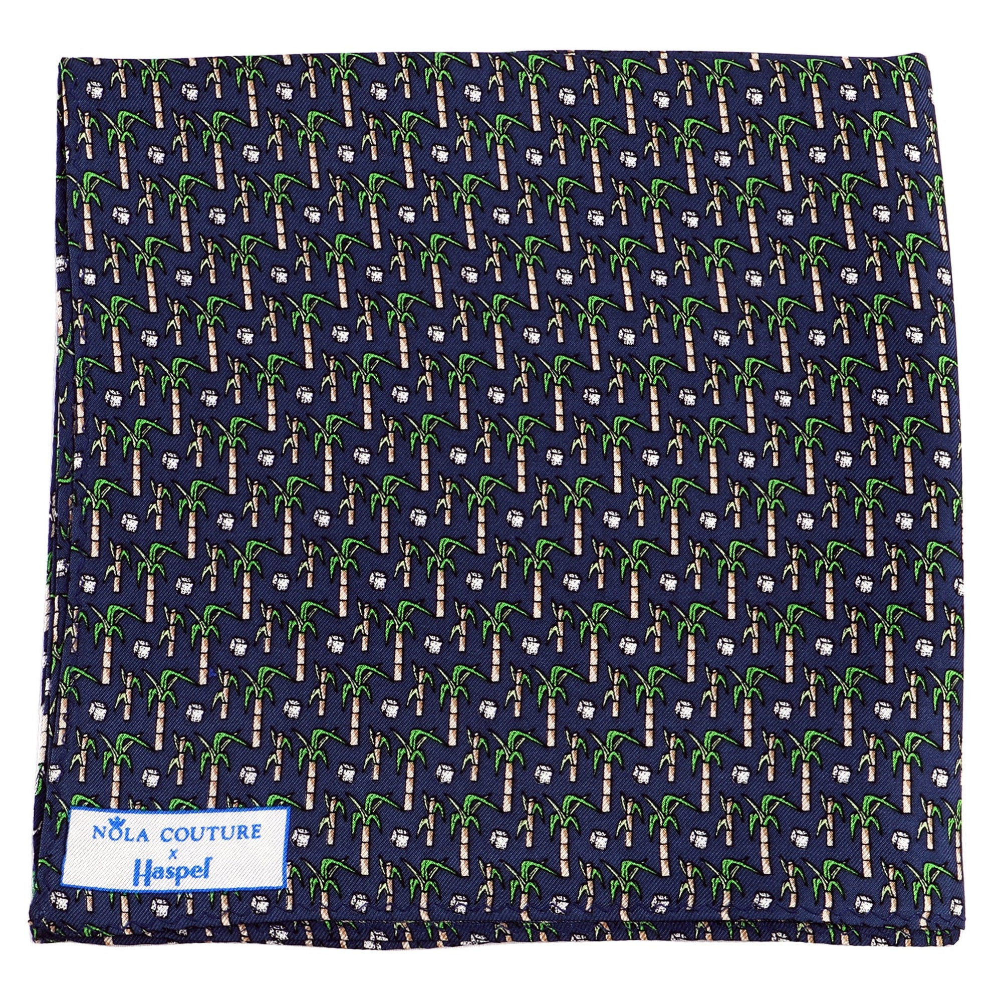 Limited Edition NOLA Couture X Haspel Navy Sugarcane Print Pocket Square - O/S