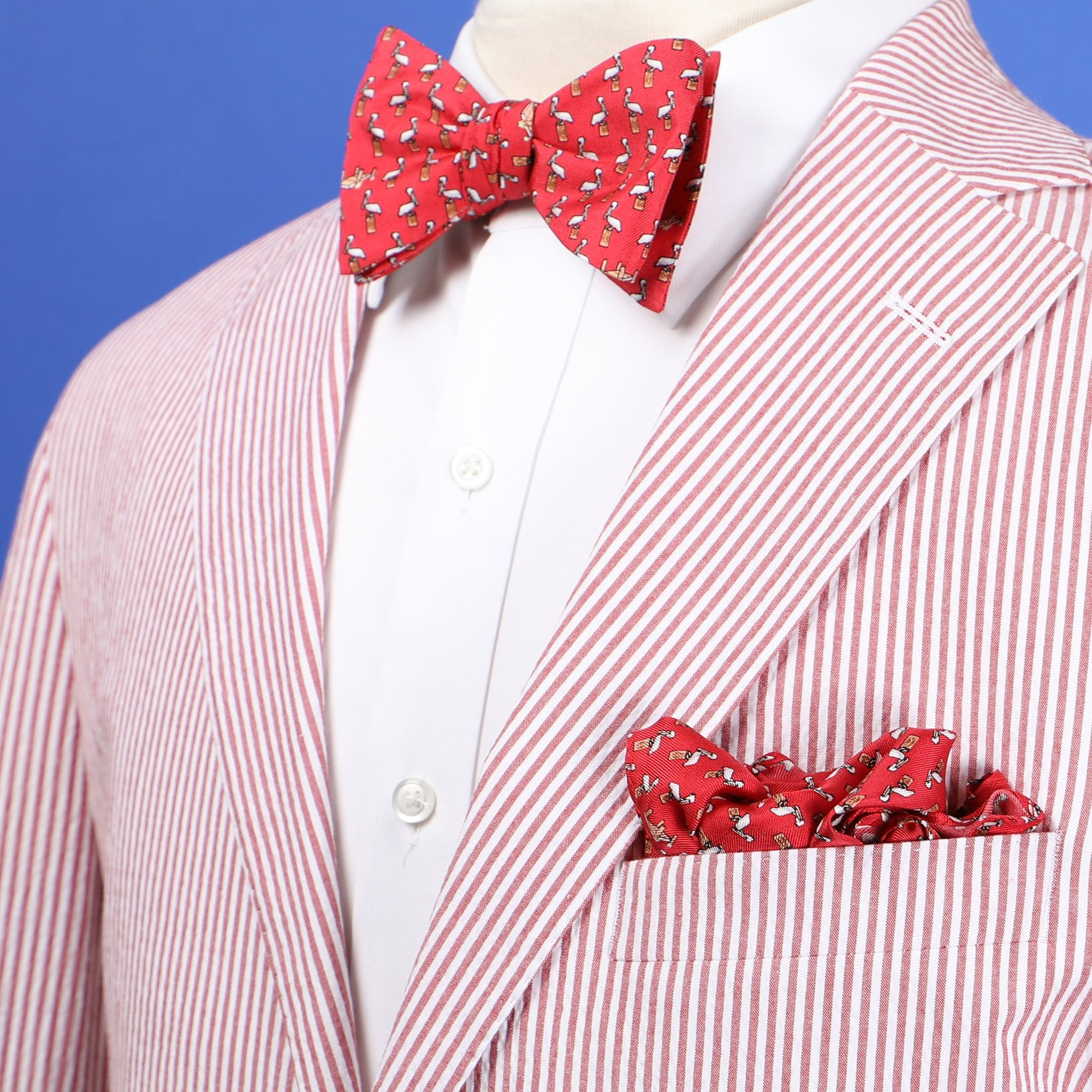 Limited Edition NOLA Couture X Haspel Red Pelican Print Bow Tie - O/S