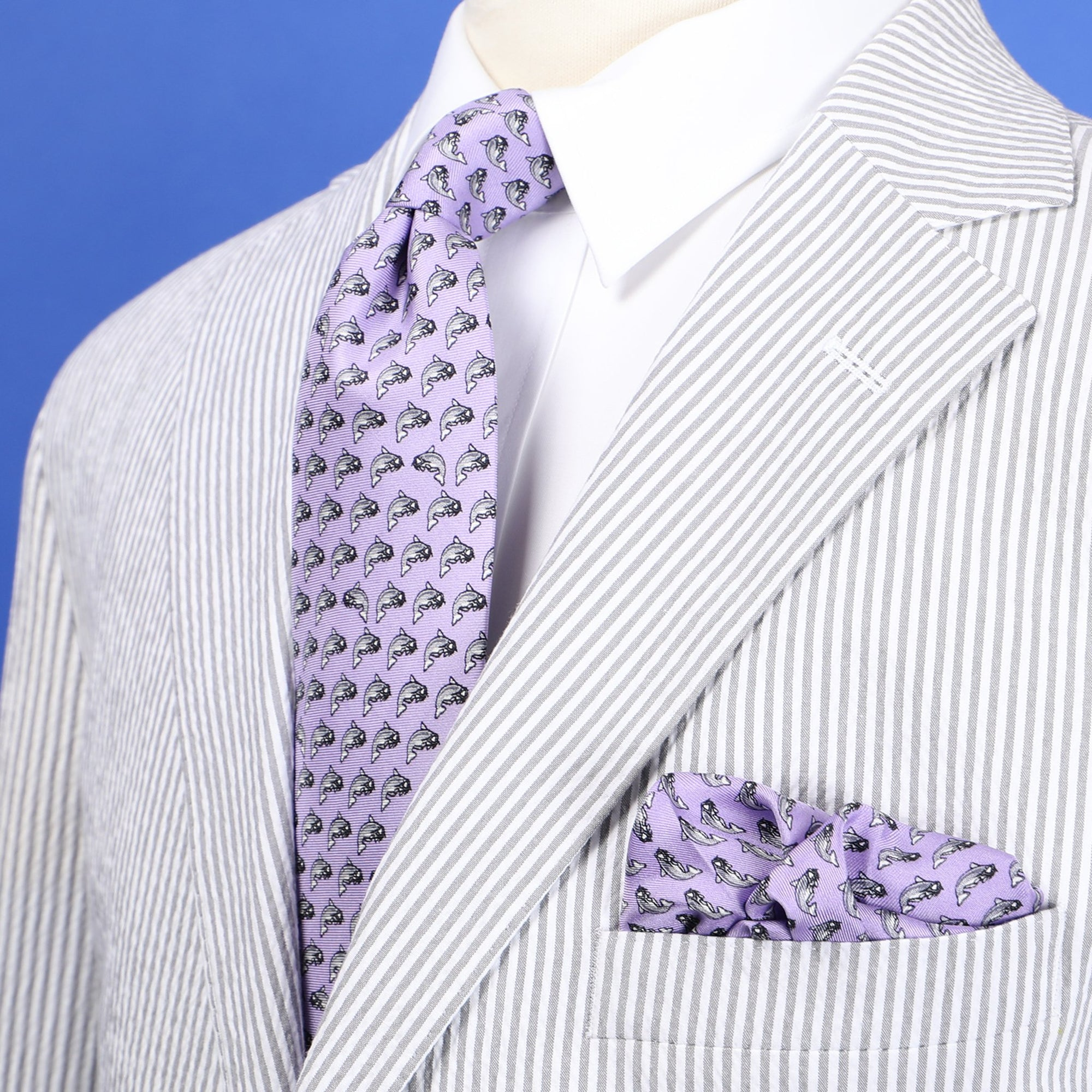 Limited Edition NOLA Couture X Haspel Lavendar Catfish Print Tie - O/S