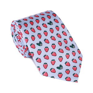 Limited Edition NOLA Couture X Haspel Lt. Blue Strawberry Print Tie - O/S