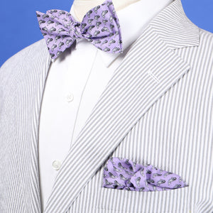 Limited Edition NOLA Couture X Haspel Lavendar Catfish Print Bow Tie - O/S