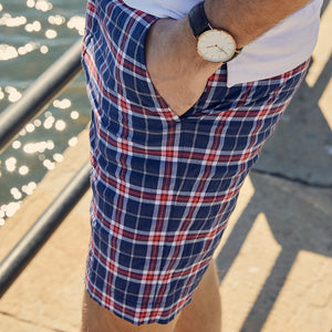Felicity Navy & Red Plaid Short