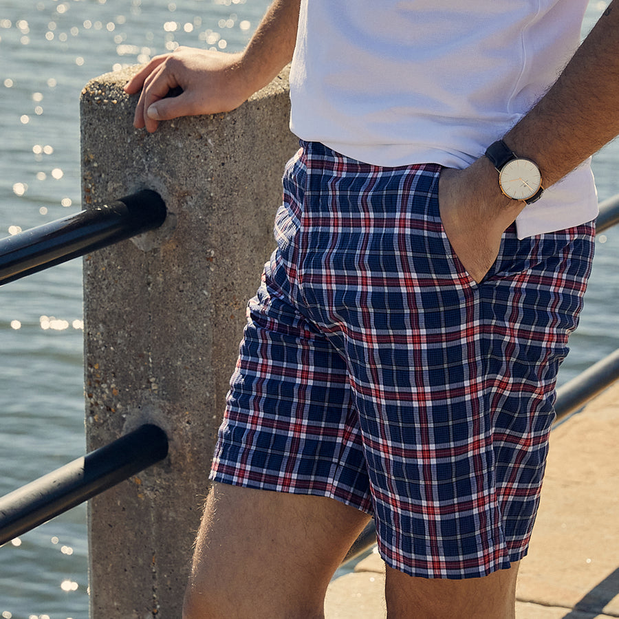Felicity Navy & Red Plaid Short Haspel Clothing
