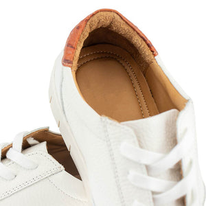 Haspel x T.B. Phelps Nubuck Laceup - White Leather