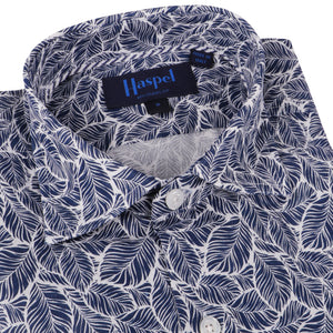 Erato Navy White Leaf Print