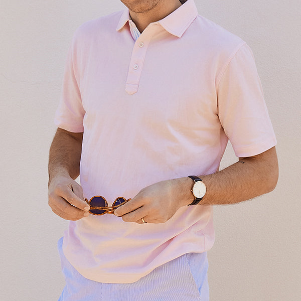 Fulton Pink Stretch Pique Polo - Haspel Clothing
