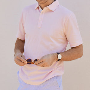 Fulton Pink Stretch Pique Polo